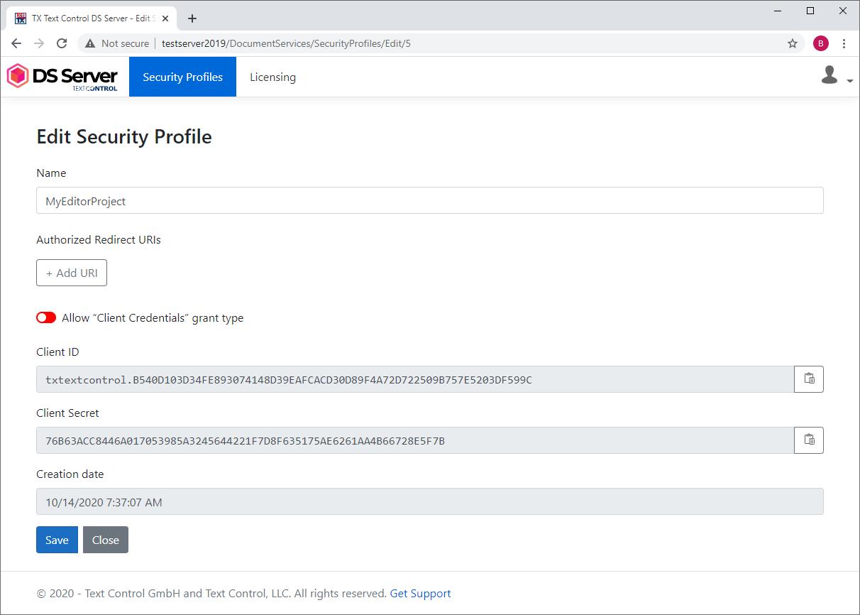 Security profiles